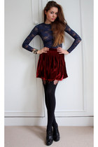 navy lace American Apparel top - black hh tights