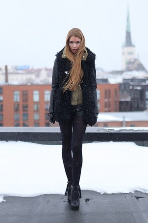 black sheepskin Topshop vest