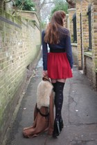 tawny Topshop coat - navy American Apparel blouse - ruby red American Apparel sk