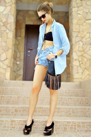 black sequined asos top - light blue oversized denim Ann Christine shirt