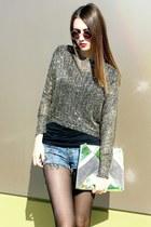 sequined Choies top - envelope clutch Topshop bag - diy D&G shorts
