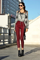 black Jeffrey Campbell boots - black fringed Affliction bag - maroon H&M pants