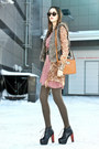 Pink-pleated-sheer-vero-moda-dress-camel-leopard-sheer-guess-blouse