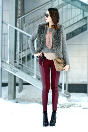 heather gray faux fur DIY vest - ruby red H&M pants