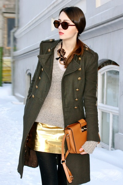 dark green studded boots - army green military Bebe coat