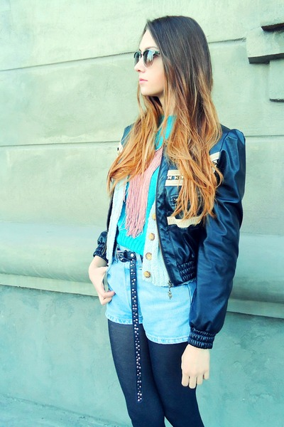 pink necklace - black studded Just Cavalli jacket - teal people sweater
