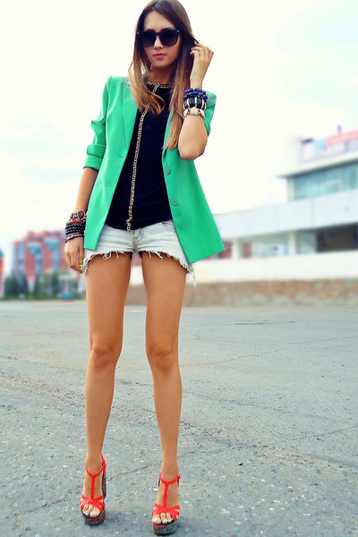 aquamarine blazer - ivory studded DIY shorts - black chain DIY top