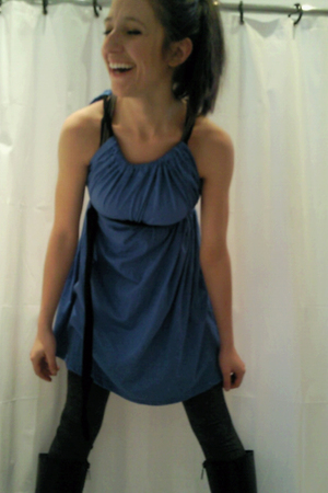 blue American Apparel dress - gray American Apparel tights - black boots