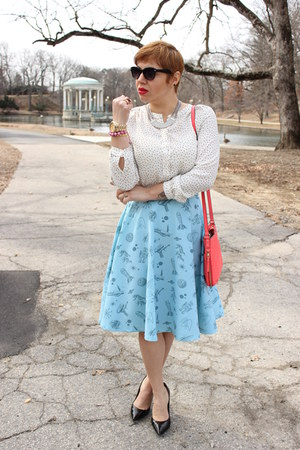 modcloth skirt - kate spade bag - BCBG pumps - Loft blouse
