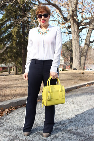 kate spade bag - ann taylor pants - ann taylor blouse - Aldo pumps