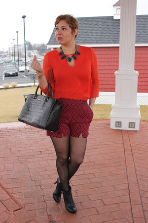 BCBGeneration boots - Michael Kors bag - francescas shorts - francescas blouse