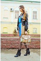 black studded JC jacket - blue Zara dress - camel cardigan