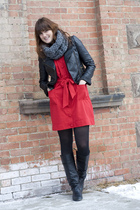 red banana republic dress - black Forever 21 jacket - black Chinese Laundry boot