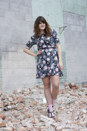 black Thrifted and reworked dress - black Steve Madden shoes - pink Betsey Johns