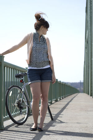 beige modcloth sweater - blue Target shorts - gray Forever 21 blouse