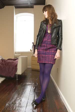 purple Target dress - black Forever 21 jacket - purple HUE stockings