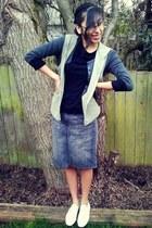 skirt - shoes - shirt - cardigan - vest
