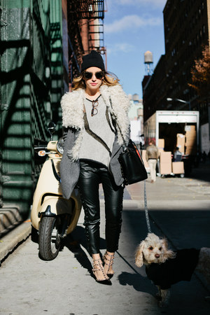 diy American Apparel hat - Valentino shoes - charcoal gray wool Theory coat