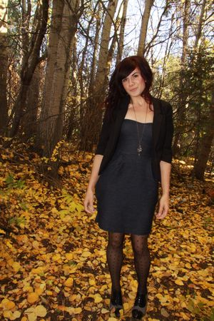 black Silence and Noice blazer - Urban Outfitters dress - H & M tights - winners