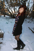 navy Forever 21 dress - black sweater - black H & M tights