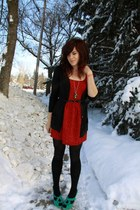 ruby red Urban Outfitters dress - black Jacob cardigan - teal Aldo heels