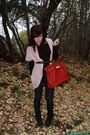 Pink-cardigan-red-bag-black-shoes