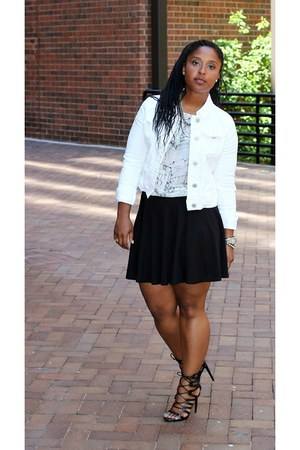 hm skirt - white denim sears jacket - American Apparel t-shirt
