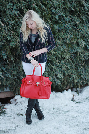 white Forever 21 jeans - red le chateau bag