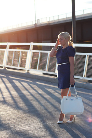 royal blue Urban Behaviour dress - white pumps le chateau shoes