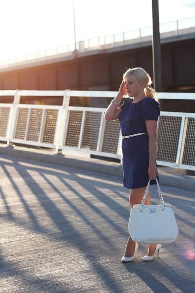 royal blue Urban Behaviour dress - white pumps le chateau shoes