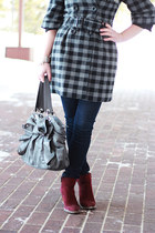 heather gray plaid Urban Behaviour coat - maroon ankle Forever 21 boots