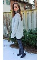 black Chanel boots - heather gray Zara sweater - black Zara leggings