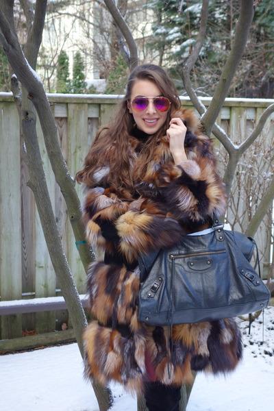 brown jacket - black stuart weitzman boots - black balenciaga bag