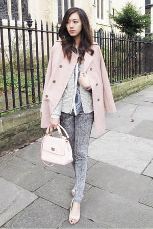 silver tweed warehouse jacket - pink trench The Day coat