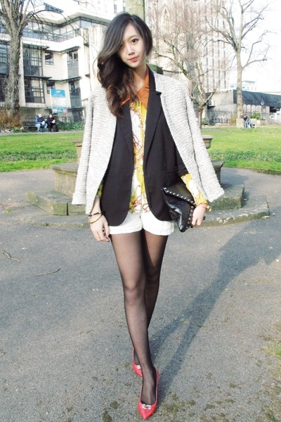 silver tweed warehouse jacket - black boyfriend Forever21 blazer