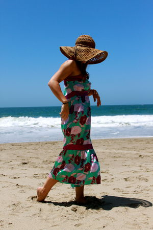 green Urban Outfitters dress - brown Forever 21 hat