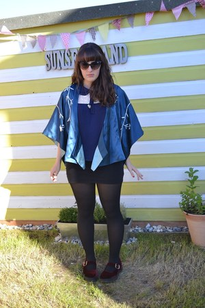blue Monsoon jacket - ruby red Dr Martens shoes - navy Primark top