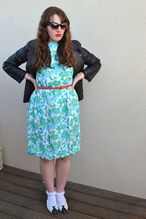 turquoise blue vintage dress - black barneys originals jacket