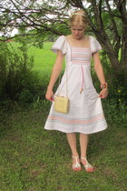 white vintage dress - cream vintage bag - white thrifted sandals