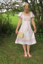 white vintage dress - cream vintage bag - white thrifted sandals