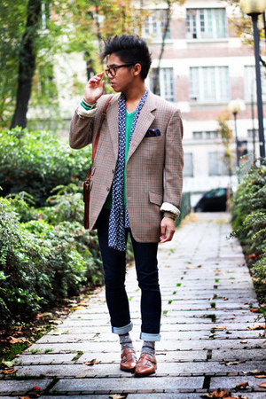 beige Etro blazer - navy dotted Zara dress - green Zara sweater