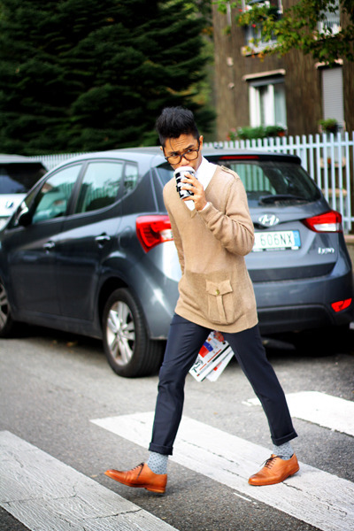 leather Zara shoes - Zara shoes - Zara sweater - Zara shirt - dotted Zara socks