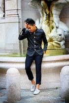 black clothingloves jacket - eggshell shoes - black Zara panties