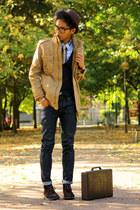 bronze Zara jacket - dark gray desert boots thrifted vintage boots