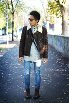 dark brown aviator Zara jacket - dark brown leather Zara boots