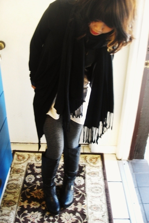 black scarf - black boots - white shirt - gray stockings