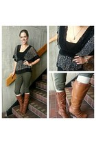 black lace blouse - brown knee high boots - olive green skinny pants