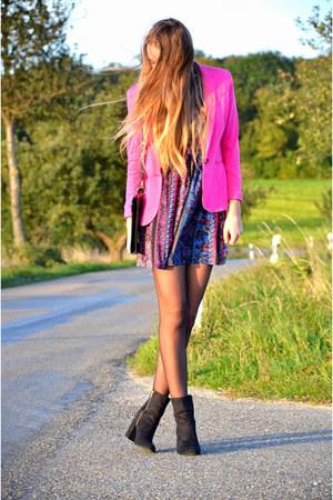 pink H&M blazer - aztec Choies dress - black vintage bag