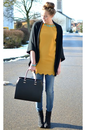 black H&M bag - yellow PERSUNMALL dress - black Opus cardigan