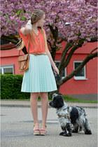 H&M skirt - coral c&a shirt - vintage bag